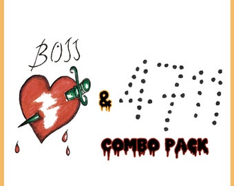 """Frank N Furter """"BOSS"""" and """"4711"""" Temporary Tattoos Rocky Horror Picture Show (Combo Pack)"""