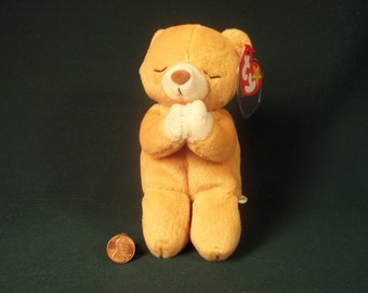 8746400854b Hope   Praying Bear   1998   TY Beanie Babies   Vintage Old Collectible    Errors  Retired Bear