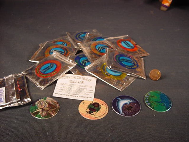Krome Kap * The Original Game * Vintage Old Collectible * Pogs * Milk Caps  * Lot of 10 Packets * Grab Bag * NOS * Free Shipping