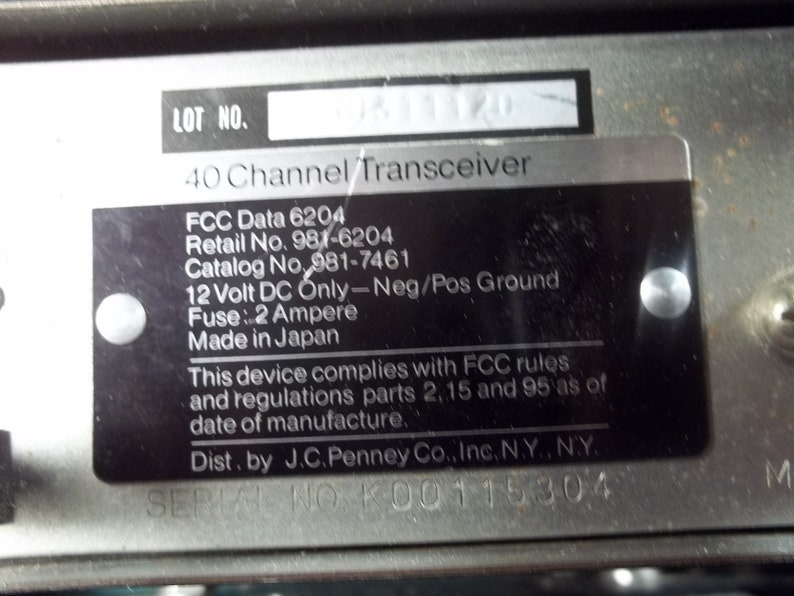 CB Radio * JC Penney * 6204 * 40 Channel Transceiver * PA * Vintage Old  Collectible *