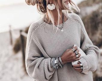 Chunky Merino Wool Sweater, Oversized Women Jumper, Loose Knit Jumper, Minimalist Clothing, Basic Scandinavian Knitwear, Boho Sweater, Cozy