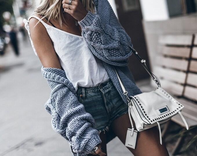 Oversized Cardigan Fair Trade Cotton Knit Bomber Chunky Knit  Tom Knit Handmade Light Grey Gray Cardigan  Scandinavian Style