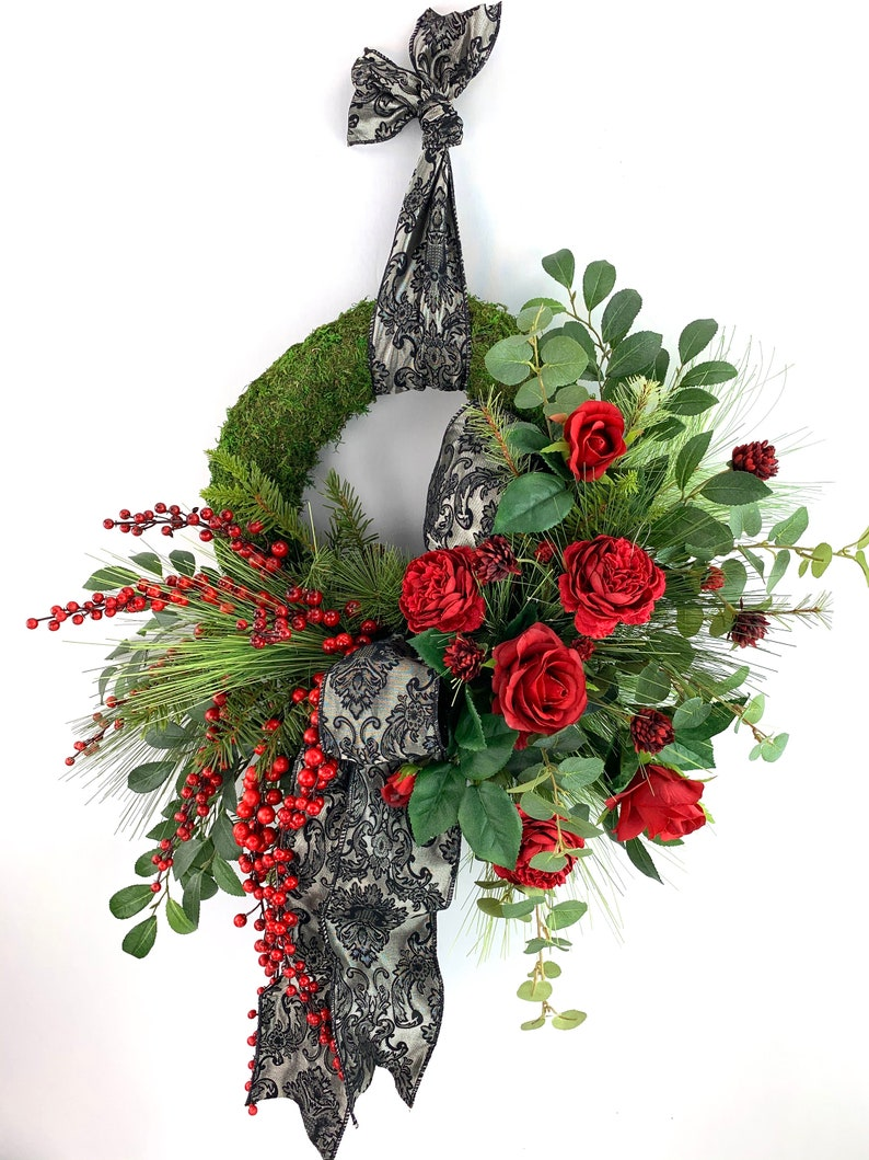 FREE SHIPPING Jacquard Print Ribbon Elegant Moss Christmas Wreath with Roses and Berries Christmas Wreath Holiday Wreath Moss Wreath