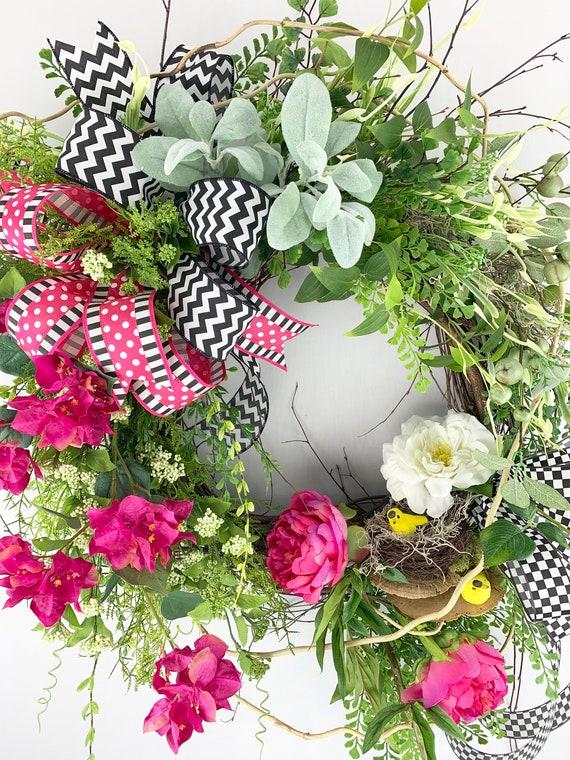 Xlg Spring Summer Wreath Spring Summer Wreath With Birdnest Etsy
