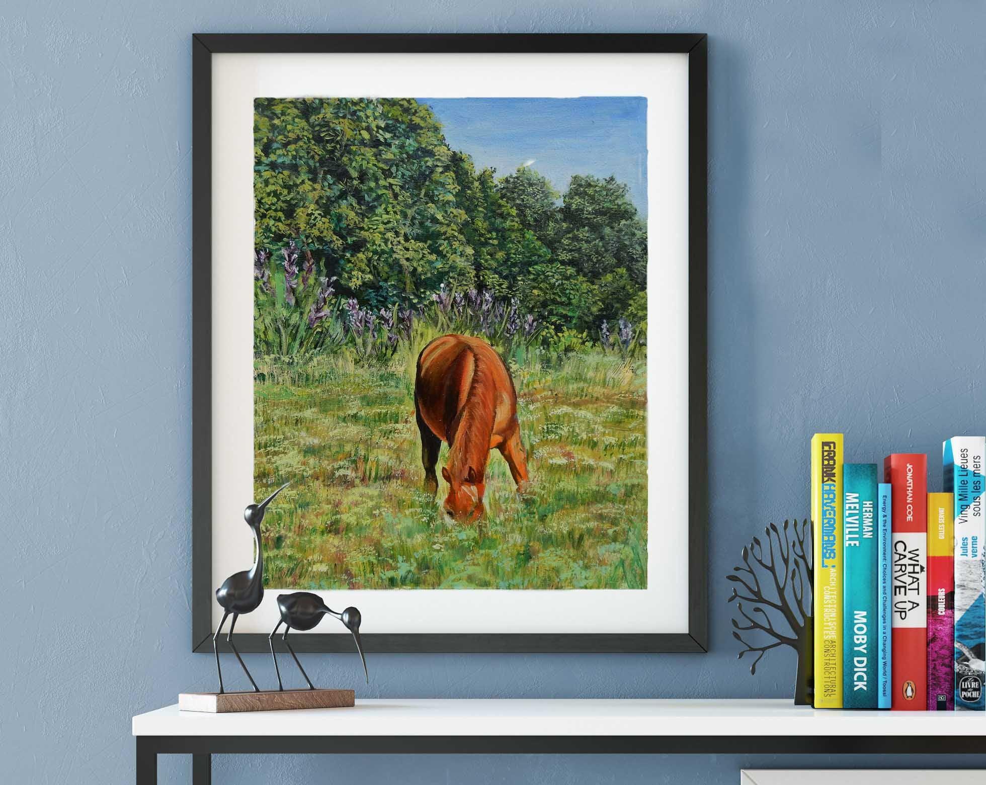 Landscape Painting Horses Art Original Oil Painting Home Decor