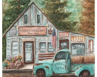 Personalized Birthday Gift, Rustic Tuck Print, Teal Blue Pickup, Add Up To 10 Custom Names, Vintage Antique Old, Unframed 8x10 - 24x36