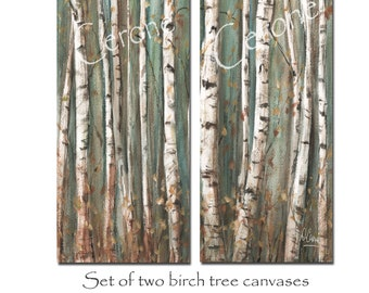 Birch Tree Canvas, Set Of 2 Long Narrow Vertical Modern Farmhouse Nature Canvas Wall Art, Contemporary Watercolor Paintings Brown Teal Gray