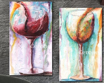 Wine Canvas Wall Decor, Red Wine, White Wine, Set Of 2 Thick Wrapped Canvases, Abstract Modern Colorful Watercolor Wine Glass Art, Red Gold
