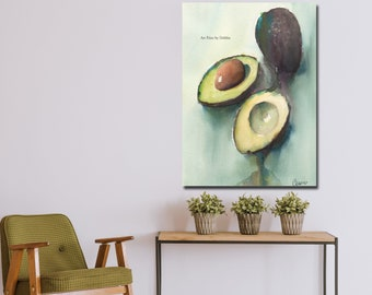 Avocado Watercolor Canvas Wall Art, Modern Kitchen Decor, Green Blue Black Abstract Food Print, Large Canvas Minimalist Painting, Colorful
