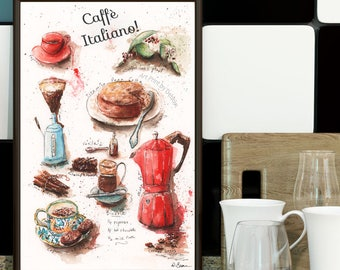 Coffee Lover Watercolor Recipe Print, Modern Kitchen Wall Art Gift, Red Italian Cafe Italiano, Large Kitchen Artwork, 8x10, 11x14, 16x20
