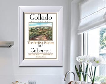 Wine Art, Personalized Gift For Wine Lover, Gift Basket Idea, Fine Art Tuscan Print, Customize Name Wine & Location, 3 Sizes, Napa Valley