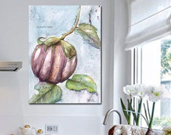 Modern Botanical Art Print, Kitchen Art, Blue White Gray Kitchen Home Decor, Large Watercolor Nature Italian Eggplant, Recipe Art Print