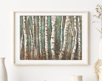 Birch Tree Watercolor Print, Farmhouse Decor, Abstract Forest Painting, Nature Wall Art, Large Horizontal Tree Painting, Over Bed, Fireplace