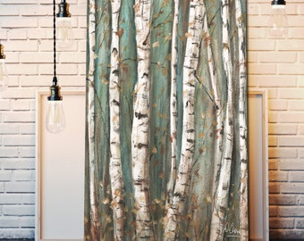 Birch Tree Canvas Wall Art, Modern Farmhouse Decor, Abstract Painting, Aspen Forest Watercolor, Brown, Blue, Long Vertical or Horizontal