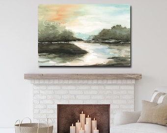 Abstract Forest CANVAS, Sunset On The River Modern Farmhouse Decor, Large Horizontal Canvas Wall Art, Over Fireplace, Dark Green Blue Black