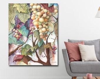Canvas Wall Art, Grape Watercolor, Wine Decor, Kitchen Wall Art, Teal, Purple, Green Grapes, Grape Leaf Decor, Grape And Wine Kitchen Decor