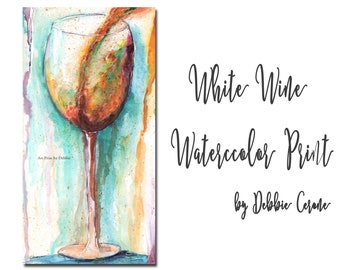 White Wine Lover Gift Idea, Gift For Her, Extra Large Wall Art, Long Wall Hanging, Abstract Print, Colorful Watercolor White Wine Wall Decor