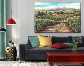 Napa Valley Landscape Vineyard Canvas Wine Wall Decor for Cellar, Reproduction Of Original Watercolor, Tuscany Grapes 7 Sizes - 6x8 to 24x36