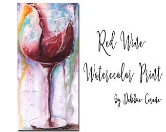 Wine Print, Long Wall Art, Vertical Wall Decor, Abstract Art Print, Watercolor Print, Wine Painting, Red Wine Art, Wine Gift For Wine Lover