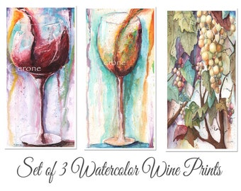 Set Of 3 Abstract  Watercolor Prints, Long Wall, Modern Bar Art, Gift For Wine Lover, Colorful Contemporary Decor, Red, White, Grapes