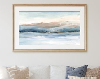 Mountain Sea Watercolor Print, Blue Coastal Decor, Modern Water Reflection, Abstract Landscape Painting, Fine Art Print Giclee, Blue White