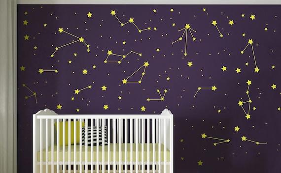 55 Mixed size Stars Wall Stickers Kid Decal Art Nursery Bedroom Vinyl Decoration Purple