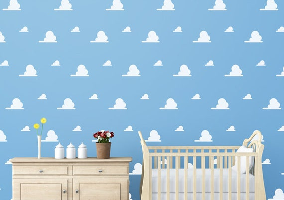 Cloud Vinyl Decal Wall Andy S Rom Kids Toy Bedroom Nursery Faux Wallpaper Decor Story Play Rooms Day Cares Schools Libraries Sticker