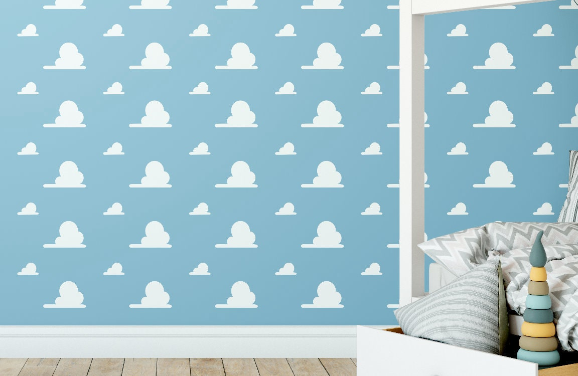 Andys Room Cloud White Vinyl Decal Wall Pattern Kids Toy Etsy