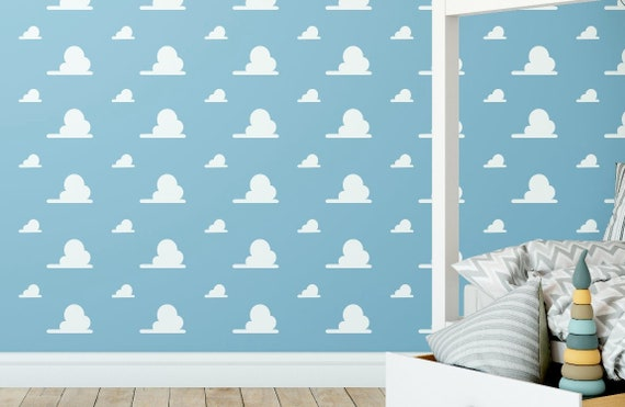 Andy S Room Cloud White Vinyl Decal Wall Pattern Kids Toy Bedroom And Nursery Faux Wallpaper Decor Story Day Cares Schools Libraries