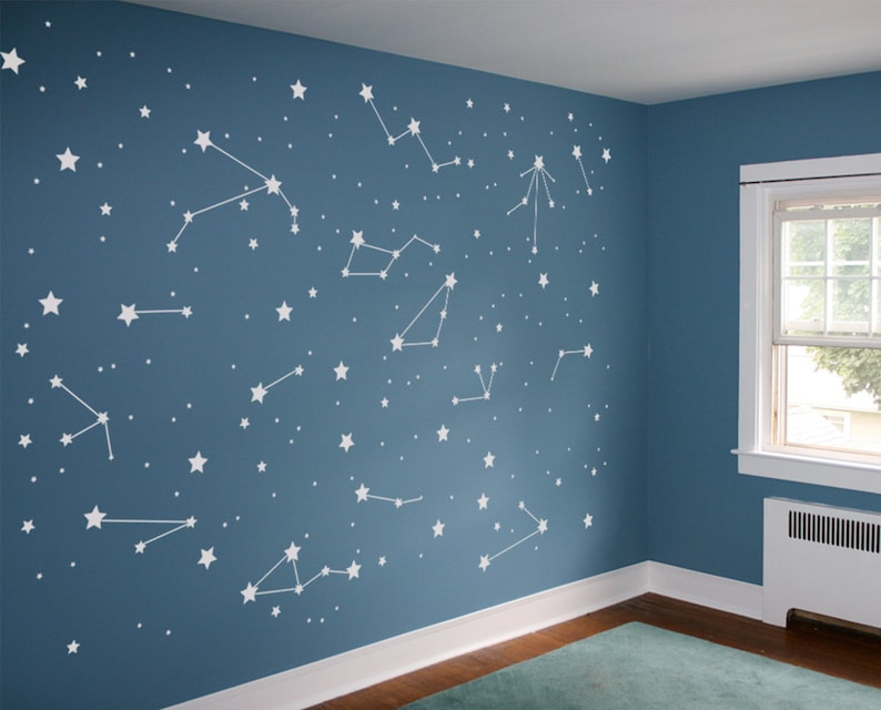 Astronomy Night Sky Kids Astronaut Wallpaper DIY Constellation Vinyl Wall Decal Pattern: Astrology Sign Stars Outer Space Nursery Decor