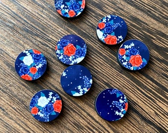 Red white and cream rose print 12mm gloss wood cabochons 8pcs