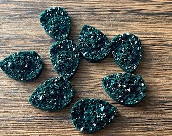 Quetzal Green 13x18mm Faux Druzy crystal Teardrops - 6pcs
