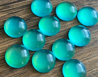 Aqua green faux moonstone 12mm resin cabochons- 10pcs