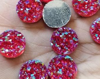 Ab red chunky 12mm faux druzy Cabochons 10 pcs