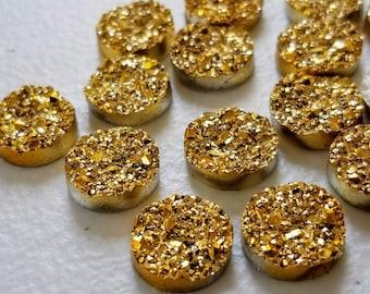 Metallic gold titanium 12mm faux druzy Cabochons 10 pcs
