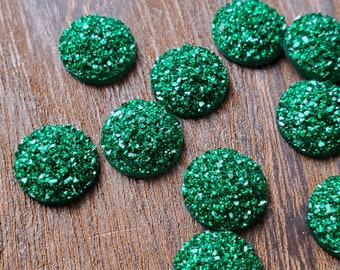 Light green glitter 12mm-12.2mm Flat Faux Druzy Cabochons 10pcs pliers may be needed