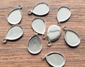 50 pcs Adjustable Plastic Blank Ring Bezel Tray 17x14mm Base Setting DIY Craft
