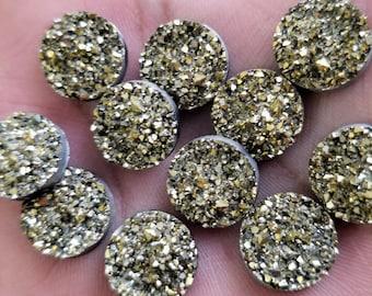 Metallic Pyrite gold crystal faux druzy 14mm Cabochons 8 pcs
