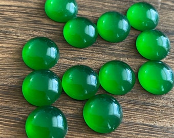 Green faux moonstone 12mm resin cabochons- 10pcs