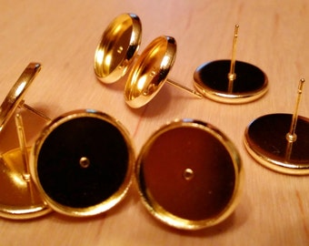 Gold tone 12 mm tray cabochon earring setting 10pcs