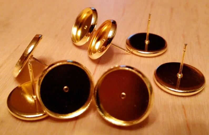 Gold tone 12mm tray cabochon earring setting 10pcs image 0