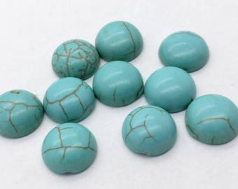 Synthetic Turquoise 12mm Howlite Stone Cabochons - 10 pcs