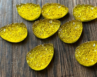 Yellow 13x18mm Faux Druzy crystal Teardrops - 6pcs