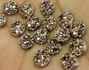 Metallic Rose gold 8mm chunky faux druzy Cabochons 10pcs