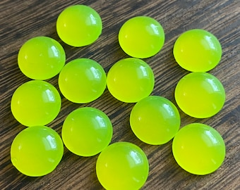 Neon yellow faux moonstone 12mm resin cabochons- 10pcs