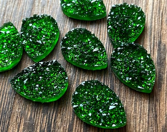 Juniper green 13x18mm Faux Druzy crystal Teardrops - 6pcs