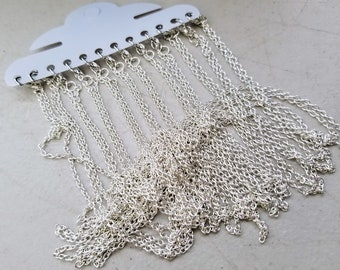 12pcs- Silver tone 18 inch necklace chains