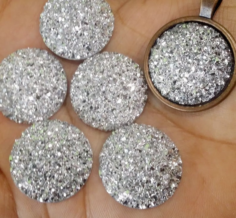 Silver 25mm Flat Faux Druzy Cabochons 6pcs