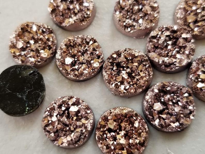 Metallic Rose gold chunky 12mm faux druzy Cabochons 10 pcs image 0