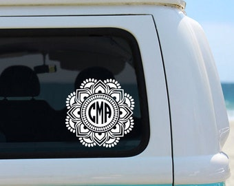 Mandala Decal - Monogram Decal - Monogram Sticker - Monogram Car Decal - Car Decal - Monogram - Vinyl Decal - Laptop Decal